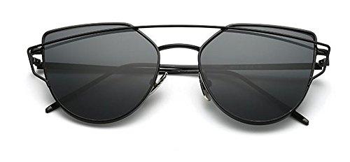 Miroir Métal Poutres Black Mode De Twin Lentilles Classique De Black Femmes Plates Soleil UV400 Œil Lunettes Cadre Polarisées Chat AKABELA Ufwx7q80n