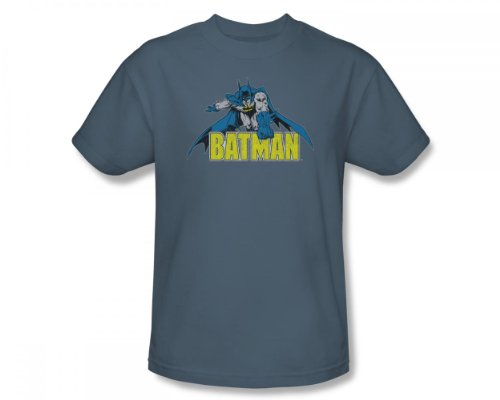 Batman+Retro+Shirts Products : Batman - Retro Batman Distressed Adult T-Shirt In Slate