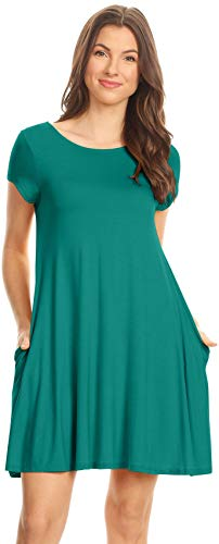 - Simlu Jade Casual Summer T Shirt Dresses (Size XX-Large, Jade)