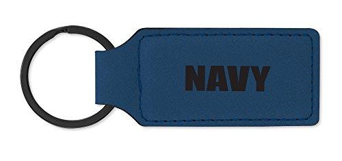 Dimension 9 Laser Engraved, Classic Leatherette Key Ring, Blue (LKR-Navy) ()