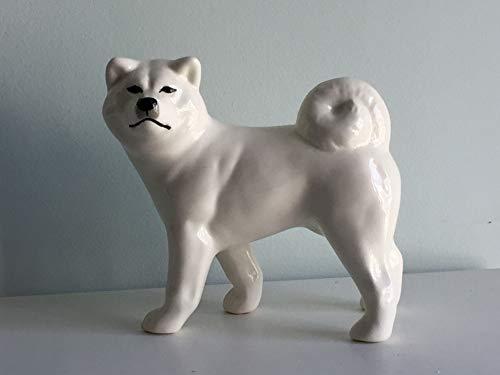 Akita Porcelain - White Akita inu faience figurine, handmade, porcelain dog figurine