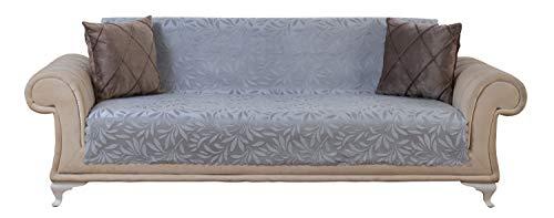 (Chiara Rose Acacia Sofa Slipcover 3 Cushion Sofa Cover 1 Piece Couch Furniture Protector Grey)