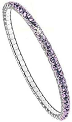 Swarovski Pulsera para Mujeres - Brazalete elástico Elements, rodiado, l 17.80 cm, PP32; Lilac Shadow F(001LIS)