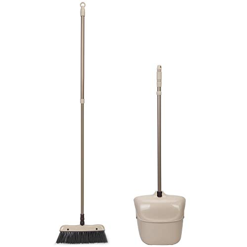 eizet | 51.48inch Extendable Telescopic Broom and Dustpan Combo Upright Sweep Set with Rotatable Broom Head | Ideal for Lobby Hardwood Floor Office Kitchen