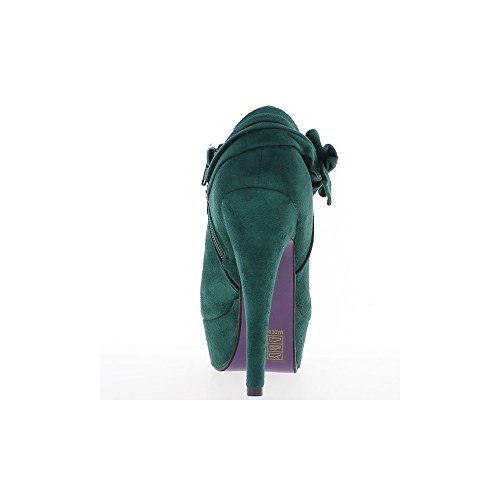 Negro botas con cordones y 8,5 cm bajo botas de tacón alto