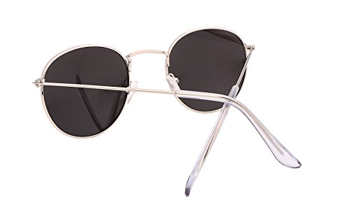 FEISEDY Retro Round Metal Frame Flat UV400 HD Lens Women Men Sunglasses B1852 8-black/Sliver