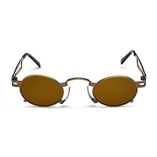 Rond À petit de Thé soleil en femmes Aiweijia Bronze monture soleil Boîte à lunettes de UV400 Hommes eyewear Oval Lunettes Vintage métallique zYHqU