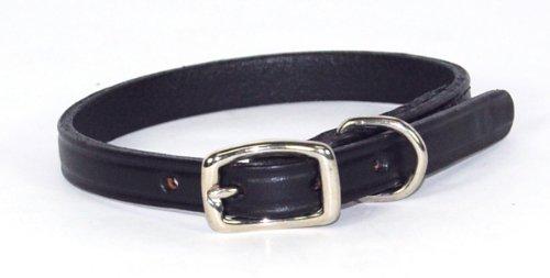 "Hamilton 3/8"" x 12"" Creased Black Leather Dog Collar"