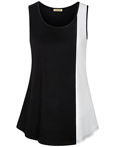 Baikea Ladies Sleeveless Tops, Summer White and Black Business Casual Tank Top Petite Patchwork Elegant Tunics 2018 2-Tone Beauty Fitted Tunic Top (Cotton Petite Tank Top)