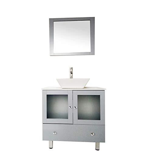 - 30 inch Modern Bathroom Vanity with Ceramic Vessel Sink, Bathroom Storage Cabinet with Vanity Mirror, Sink Single Bathroom Vanity with Double Doors(Grey)