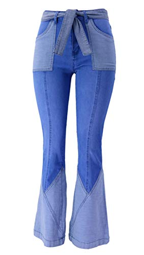 chouyatou Women' Chic Bell Bottom Contrast Color Spliced Flared Jeans Denim Pants