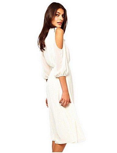 PU&PU Robe Aux femmes Gaine Street Chic,Couleur Pleine Bateau Midi Polyester , white-2xl , white-2xl
