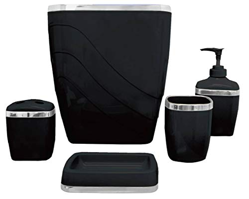 Carnation Home Fashions 5-Piece Plastic Bath Accessory Set, Black (Bath Set Accessories Cheap)