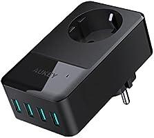 AUKEY USB Ladegerät eine Steckdose 16A mit 4 USB Ports (5V/2,4A * 4) für iPhone 8 / X / 7 / 7 Plus, Macbook Pro / Air, iPad, Smartphone, Laptops, Tablet, Tischlampe usw.