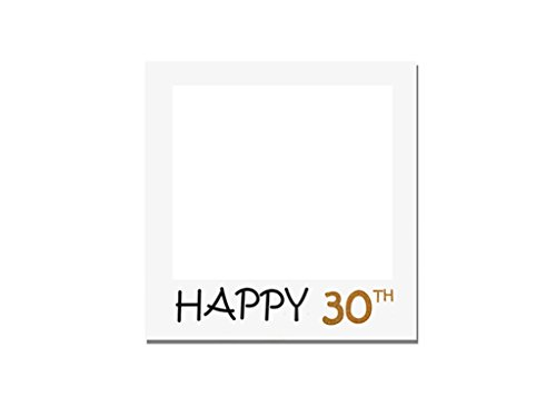 1pcs Happy 30th Birthday Anniversary Paper Photo Booth Props Picture Selfie Frame (White) 30th Birthday Photo Frames