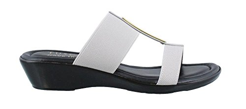 Easy Street Women's Tuscany by, Adda Slide Sandals Gray 7 M Gray Womens Sandals