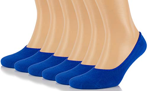 Hugh Ugoli Men's Bamboo No Show Liner Socks Seamless Toe Low Cut Non Slip Socks - 6 Pairs - Blue