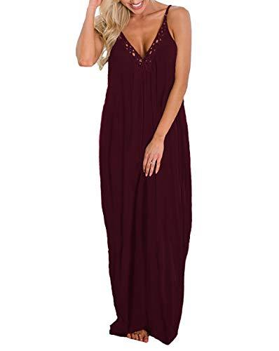 THANTH Womens Dresses Spaghetti Strap Deep V Neck Loose Long Maxi Dress with Pockets Burgundy XL