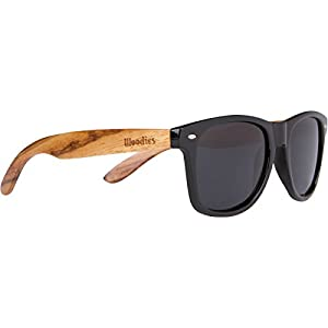WOODIES Zebra Wood Wayfarer Sunglasses with Black Polarized Lenses