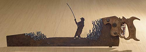 (Metal Art Rustic plasma cut Fisherman hand saw with a Fishing design | Wall Decor | Garden Art | Recycled Art | Repurposed - Made to Order plasma cut metal art, hand made | Wall art)