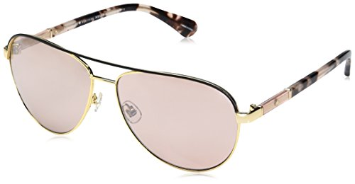 Kate Spade Women's Emilyann/s Aviator Sunglasses, Gold Plum Havana/Pink Flash Silver, 59 mm by Kate Spade New York
