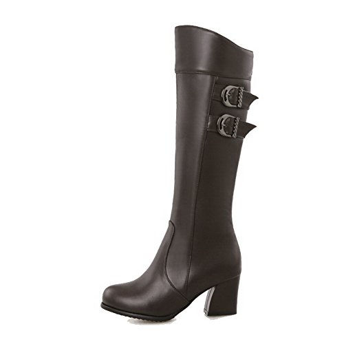 Heels AgooLar Kitten Closed Women's Toe High Brown Top Solid Round Zipper Boots xUOBx