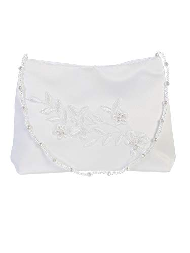 Tip Top Kids Girls White Flower Embroidered Stylish Communion Purse