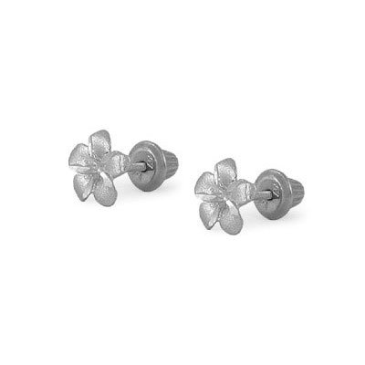 14K White Gold Plumeria Flower Screw Back Stud Earrings For Girls by Loveivy