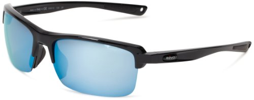 (Revo Unisex RE 4066 Crux N Rectangular Polarized UV Protection Sunglasses, Polished Black Frame, Blue Water Lens)