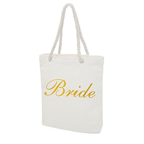 Personalised Tote Bag Wedding Favor Bride Bridesmaid Maid of Honor Hen Gift Bridal (Metallic Striped Tote)