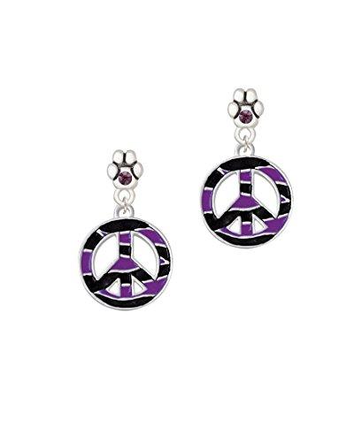 Large Purple Tiger Print Peace Sign - Purple Crystal Paw Earrings ()