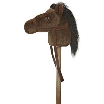 """Aurora World World Giddy-Up Stick Horse 37"""" Plush, Dark Brown"""