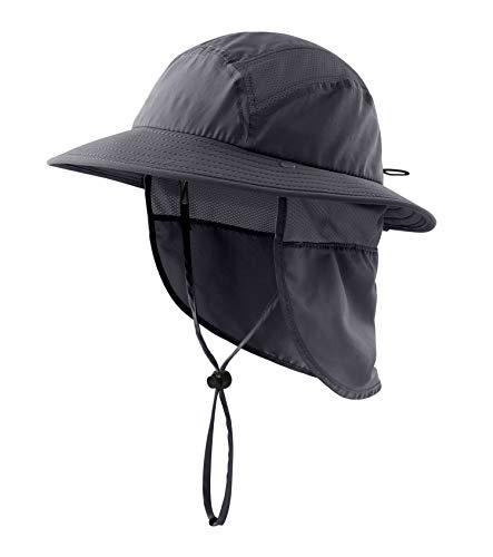 Home Prefer UPF 50+ Boys Sun Hat with Neck Flap Summer Beach Hat Kids Safari Hat (Dark Gray)