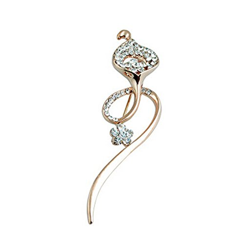 Clear Flower Brooch - 2PCS Womens Elegant Brooches and Pins With Clear Crystals, Flower Shape