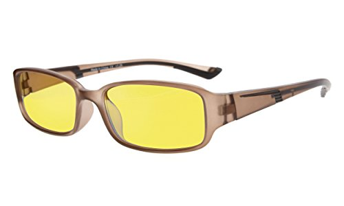 Eyekepper Anti Blue Light More than 94% Computer Glasses,Scratch Resistant, UV and Computer/TV Electromagnetic Radiation Protection Reading Glasses, Yellow Tinted Lens (Brown/Brown Arm - Glasses Tinted Lens Reading