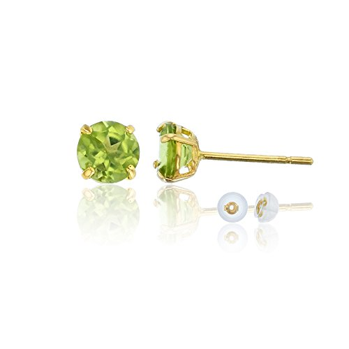 14k Gold Peridot Ring - 14K Yellow Gold 6mm Round Peridot Stud Earring