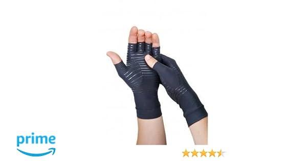 Guantes de cobre para artritis, guantes de compresión para recuperación (altura a mitad de los dedos) con alto porcentaje de cobre como componente ...
