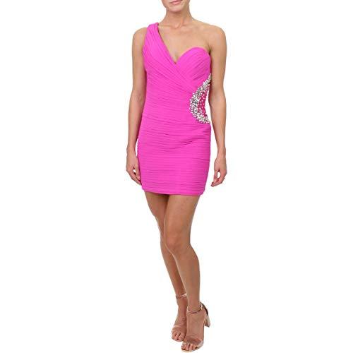 JVN by Jovani Womens Embellished One Shoulder Semi-Formal Dress Pink 4