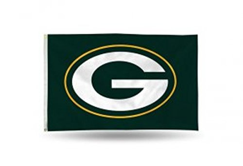 Rico NFL Green Bay Packers 3-Foot by 5-Foot Single Sided Banner Flag with Grommets