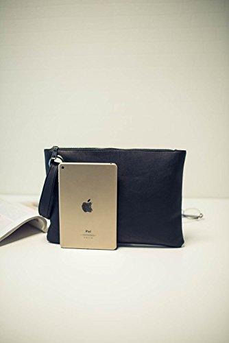 bleu femmes les à sac soirée sac fourre rétro paquet sac à tout de du main sac embrayage wristlet main gros marine cuir enveloppe S1W1dq