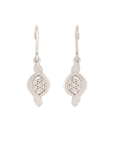 925 Sterling Silver Diamond Silver Drop Dangle Earring White Rhodium Plating Real Natural Diamond Studded (I3 Clarity) Floral Cluster Infinity with Fish Hook System for Mother pear