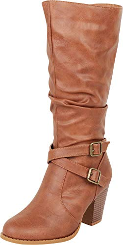 Cambridge Select Women's Slouch Crisscross Strappy Chunky High Heel Mid-Calf Boot,8.5 B(M) US,Tan PU
