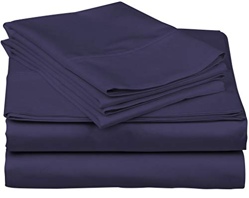 True Luxury 1000-Thread-Count 100% Egyptian Cotton Bed Sheets, 4-Pc Queen Plum Sheet Set, Single Ply Long-Staple Yarns, Sateen Weave, Fits Mattress Upto 18'' Deep Pocket