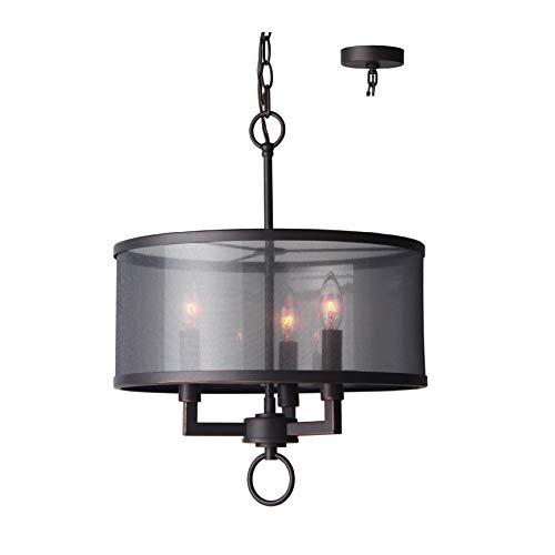 (Woodbridge Lighting 15513ATN Jamison 3-Light Organza Shade Pendant Chandelier)