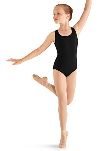 (Mirella Girls Flower Back Dance Tank Leotard, Black, 2-4)