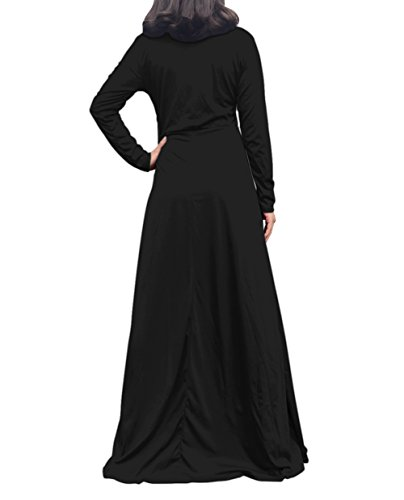 Casual with Dress Maxi Corala Cowl Loose Plain Long Women's Pocket Neck Dresses Long Sleeve Black wHw0gTxq