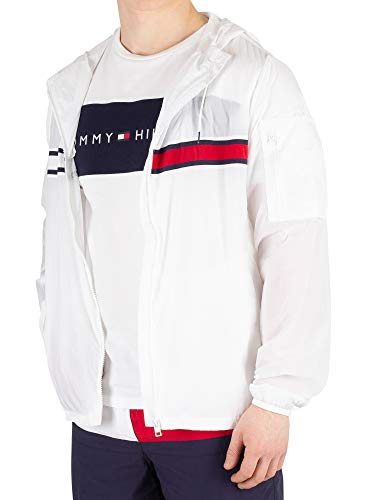 Tommy Hilfiger Men's Windbreaker Jacket, White, L (Hilfiger Sonnenbrillen)