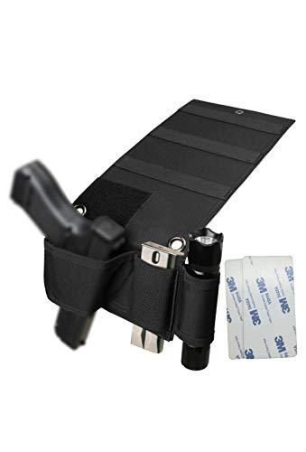 Hochoek Adjustable Universal Versatile Gun Holster,Under Mattress Bedside Seat Vehicle Car Pistol Holder with Magazine Flashlight Loop Pouch & Versatile Tape