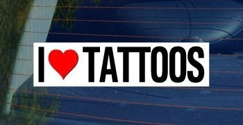 I Love Heart TATTOOS - Sticker Graphic - Personalized Sticker Custom Sticker Street Sign Graphic