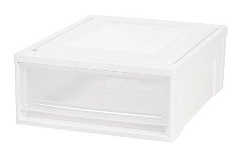 (IRIS Shallow Box Chest Drawer, 4 Pack, White)